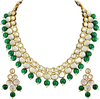 Aheli Indian Wedding Party Kundan Green Beaded Necklace Earrings Set Bollywood Festive Jewelry for Women