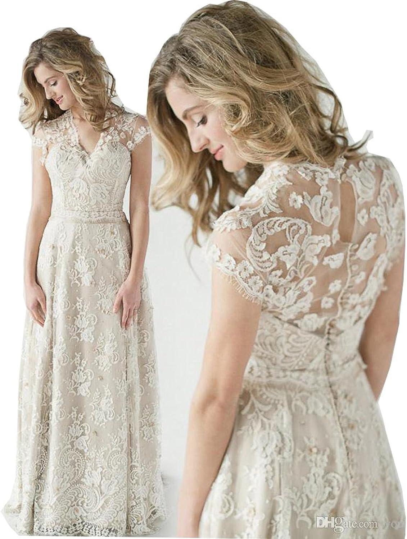 Fanciest Women's Vintage Cap Sleeve Lace Wedding Dresses for Bride 2017 White