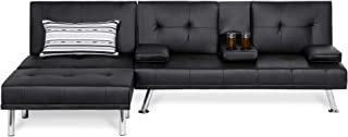 Best Choice Products Faux Leather Upholstery 3-Piece Modular Modern Living Room Sofa Sectional Furniture Set w/Convertible...