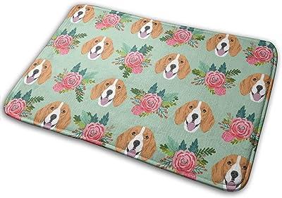 """Beagle Florals Pink Dogs and Florals - Mint_16424 Doormat Entrance Mat Floor Mat Rug Indoor/Outdoor/Front Door/Bathroom Mats Rubber Non Slip 23.6"""" X 15.8"""""""