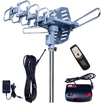 Updated!150 Miles-Amplified Outdoor TV Antenna-4K/1080p High Reception+40FT RG6 Cable-360°Strong Motor Rotation Wireless Remote- Snap On Installation+2TV Function