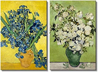 wall26 - Still Life: Vase with Pink Roses/Irises by Vincent Van Gogh - Oil Painting Reproduction in Set of 2   Canvas Prints Wall Art, Ready to Hang - 16