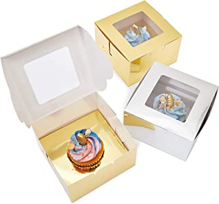 Juvale Single Cupcake Boxes (24 Pack), Metallic Gold and Silver, 5 x 3 Inches