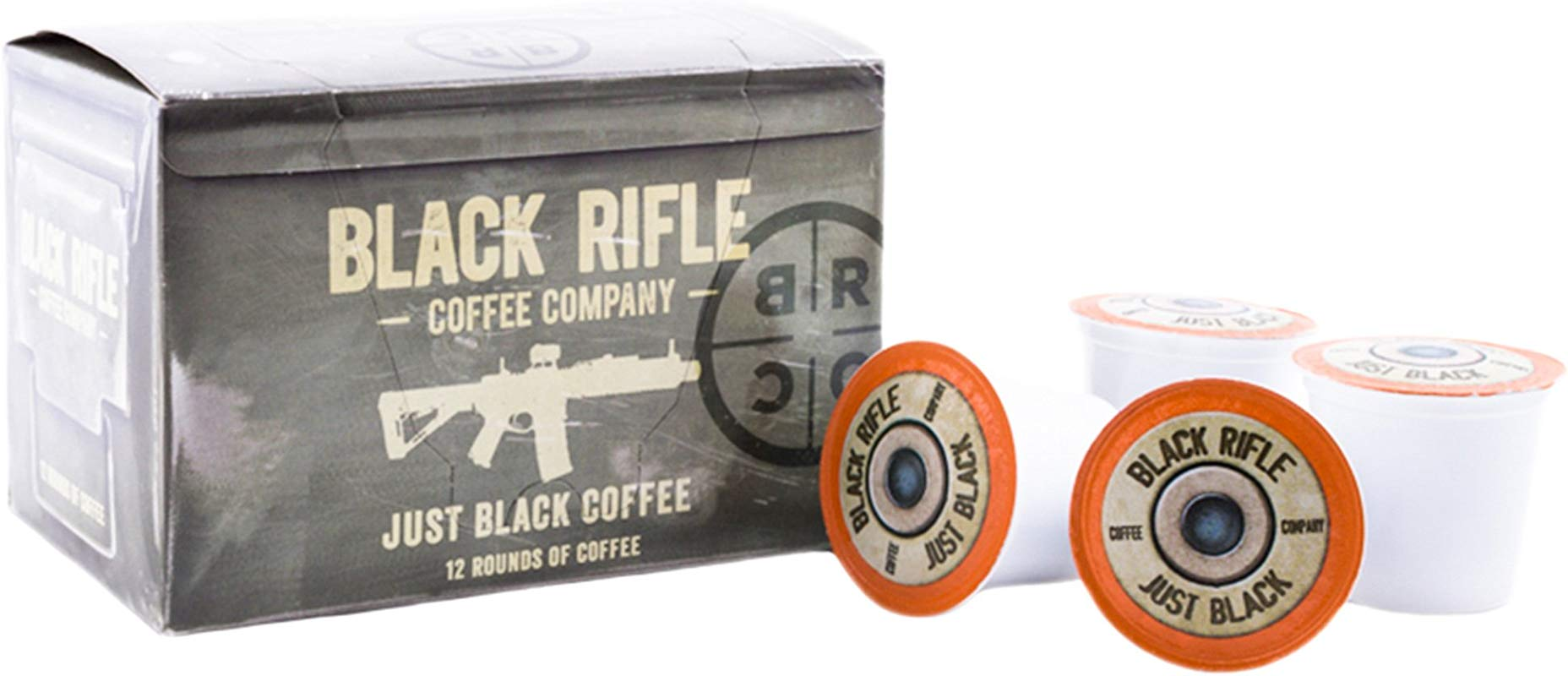 Black Rifle Coffee Company JB Just Black Coffee Rounds For Single Serve Brewing Machines 12 Count Dark Roast Coffee Pods Cups