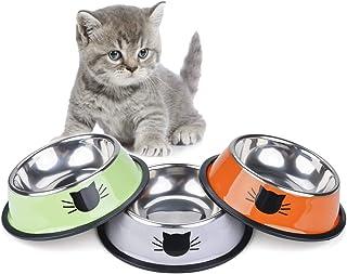 Legendog 3PCS Pet Bowl Stainless Steel Non-Skid Base Dog Bowl Cat Bowl with 2 Food Scoop