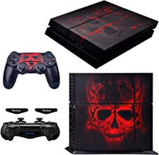eXtremeRate Full Set Faceplate Skin Decal Stickers for Playstaiton 4/PS4 with 2 Led Lightbar (Console & 2 Controller) - Sk...