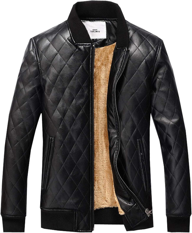 Flygo Men's Winter Thick Sherpa Fleece Lined PU Faux Leather Moto Bomber Jacket