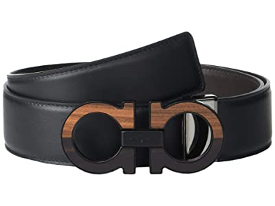 Salvatore Ferragamo Adjustable Reversible Belt 679941 (Black/Hickory) Men