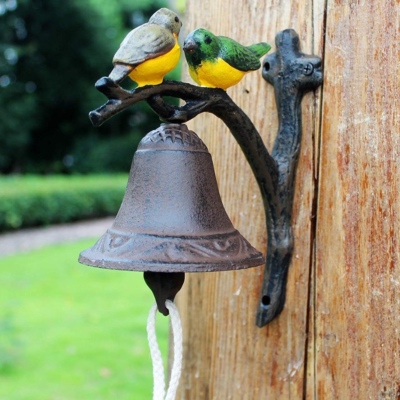 大胆な頂点上下するHZB ヨーロッパとアメリカのレトロ創造的な鋳鉄ダブル - 鳥カラーアートドアベルの壁のベル手で鳴るベルはドアの前に