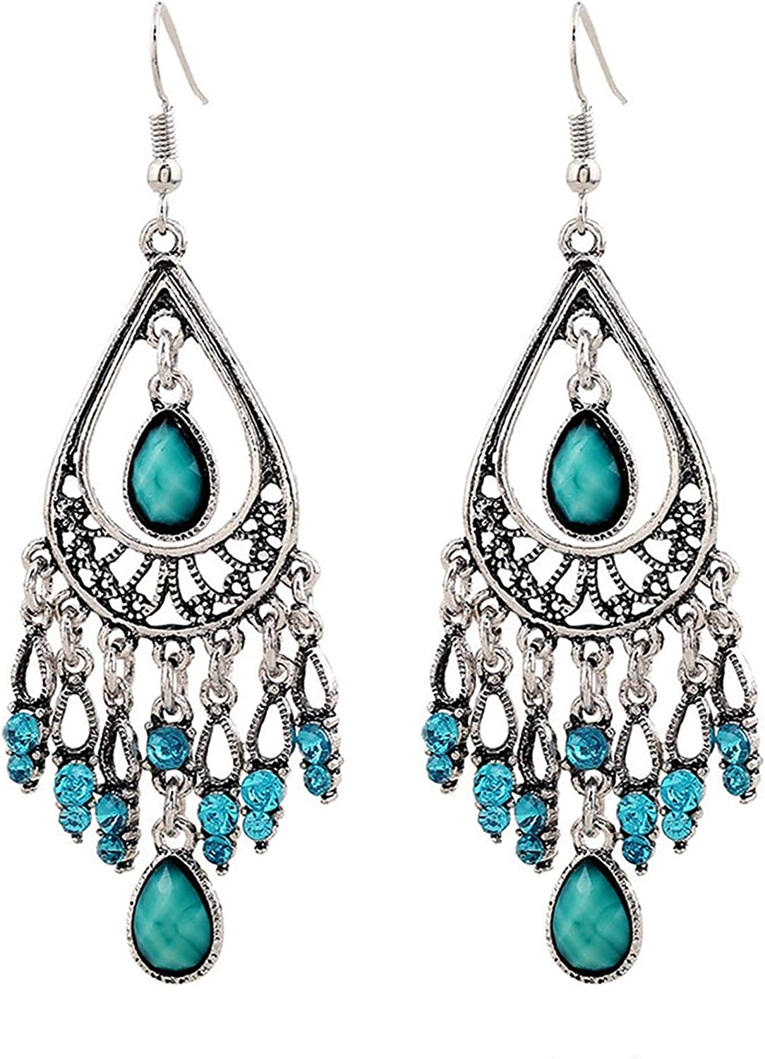 FENGGUO Vintage Dangling Earrings Boho Cheap sale Water Turquoise Ranking TOP6 D Ethnic