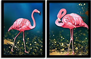 Painting Mantra Flamingo Framed Painting Set of 2, Pink Flamingo Paintings/Posters for Living Room (13.5 Inch X 17.5 Inch ...