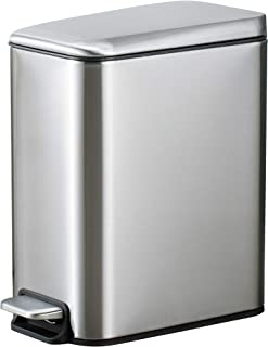 5 Liter 1.3 Gallon Stainless Steel Step Trash Can Pedal Dust Bin Waste Basket Trash Can Garbage Recycle Bin Silent Lid Removable Inner Bucket Compact Waste Bin In-home Recycling Bin Silver