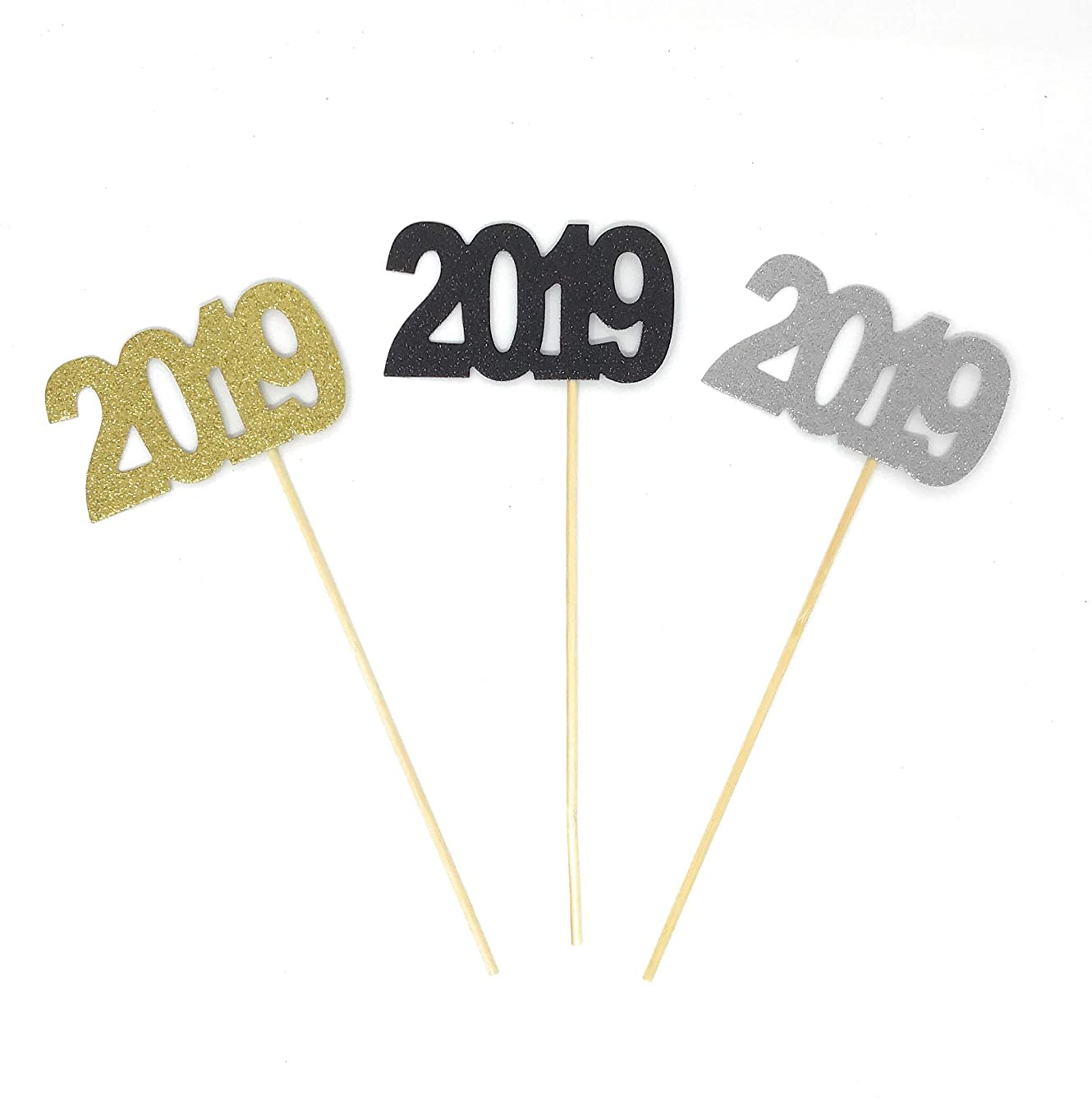 PaperGala Double Sided 3 Pack of 2019 Centerpiece Party Picks for Graduation New Years and NYE Gold, Silver, Black Centerpieces Multi-Color Pack