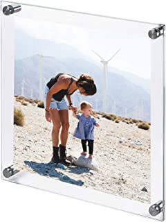 Clear Tempered Glass Wall Picture Frame 15 x 15 Inch (Perfect for Photo / Art Size 12 x 12 Inch) Wall Mount or Hang - Farmless Double Glass Photography Display with Brushed Stainless Steel Standoffs.