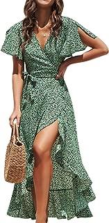 Simplee Women's V Neck Wrap Polka Dot Split Belted Flowy Boho Short Sleeve Beach Maxi Dress