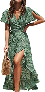 Women's Boho V Neck Ruffle Floral Wrap Maxi Dress