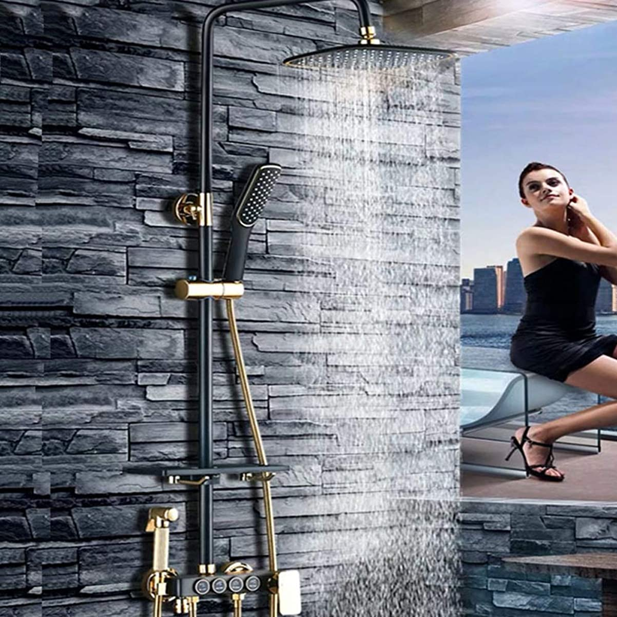 区別額有効化ブラックシャワーシェルフシャワーセットサイズとセット/全銅の蛇口浴室のシャワーブースターシャワーヘッド/ファイン銅のテーマ:* 900ミリメートル340 浴室用設備