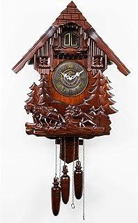 JINHAN الوقواق ساعة التقليدية السوداء الغابات شاليه ساعة يدويا كوارتز ساعة جدار ديكور Wall Clocks