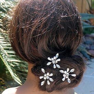 IYOU Pasadores de pelo de boda nupcial Horquilla de perlas de cristal Accesorios de boda de novia con pinza de pelo de dia...
