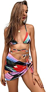 SOLY HUX Women's Color Block Halter Tie Side Bikini Bathing Suits with Beach Skirt 3 Piece Swimsuits