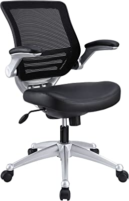 Modway Edge Mesh Back and Leather Seat Office Chair in Black with Flip-Up Arms
