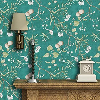 Green Peel And Stick Wallpaper Peach Tree Self Adhesive Wallpaper Floral Bird Removable Wallpaper Natural Green Wallpaper Stick And Peel Shelf Liner Wall Covering Vinyl Film17 7 118 Amazon Com