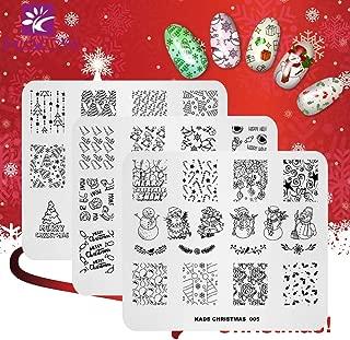 KADS 3pcs Christmas Nail Stamping Plate Template Image Design Plates for Nail Art Decoration and DIY Nail Art