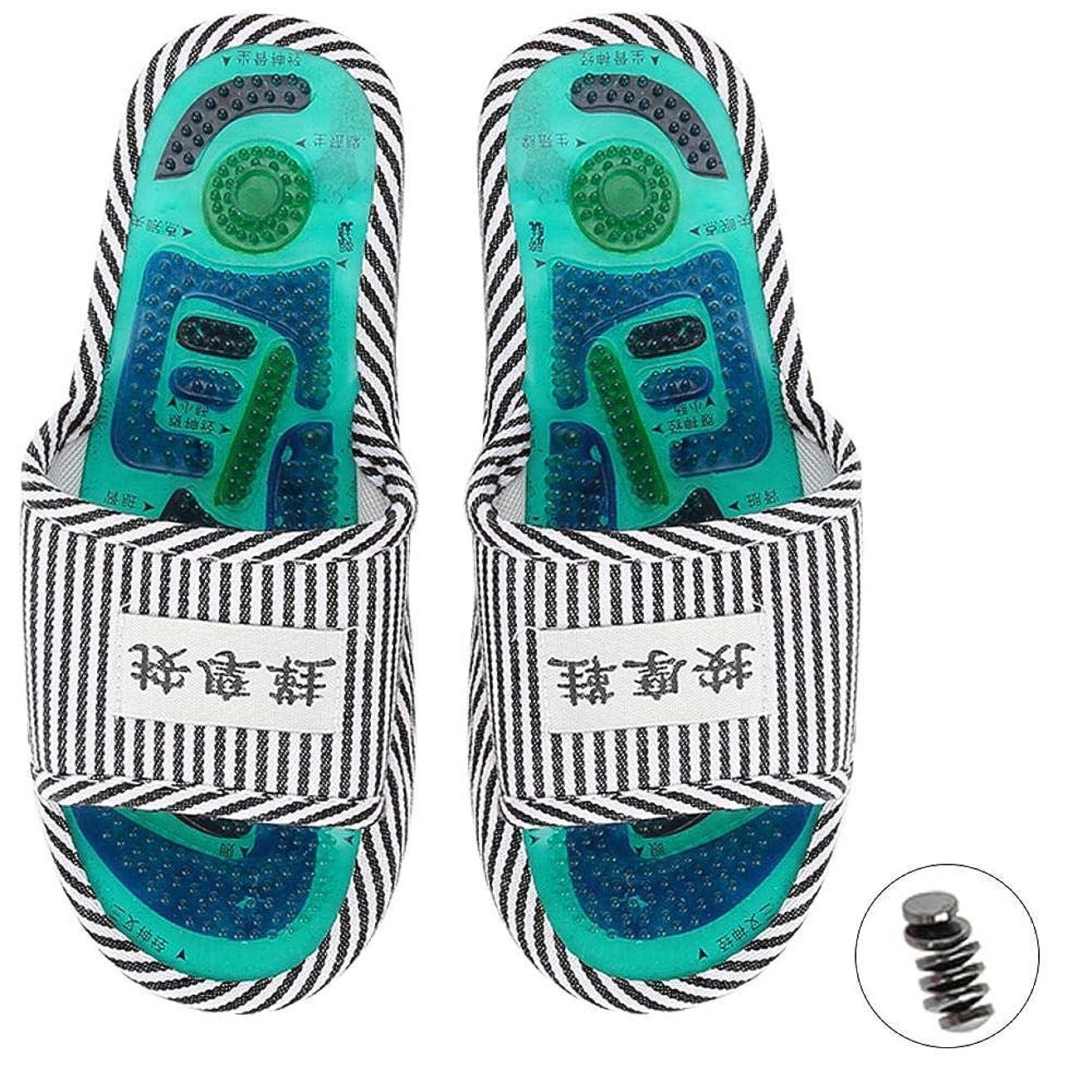 番目潮ビジュアルマッサージスリッパ、足指圧マッサージ 磁気ストーン 健康な足のケア マッサージボール 男性女性用(1)