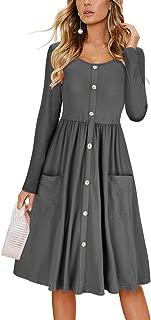 KILIG Women's Long Sleeve Dress Spaghetti Strap Button Down Dress with Pockets
