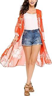 ELESOL Women's Floral Print Sheer Chiffon Kimono Cardigan Capes Beach Cover up