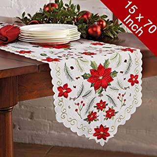 OurWarm Christmas Embroidered Table Runners Poinsettia Holly Leaf Table Runner for Holiday Christmas Decorations 15 x 70 Inch