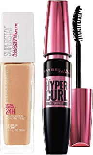 Maybelline New York Super Stay 24H Full Coverage Liquid Foundation, Golden 312, 30ml and Maybelline New York Hypercurl Mas...