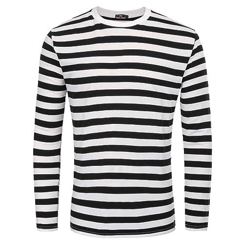 4729d407 PAUL JONES Men's Basic Striped T-Shirt Crew Neck Cotton Shirt