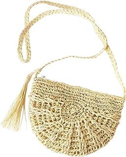731f93f0b2f745 Faletony Sommer Stroh Strandtasche Umhängetasche Halbrund Hohl Strohtasche  Crossbody Strand Tasche für Damen Mädchen Frau,