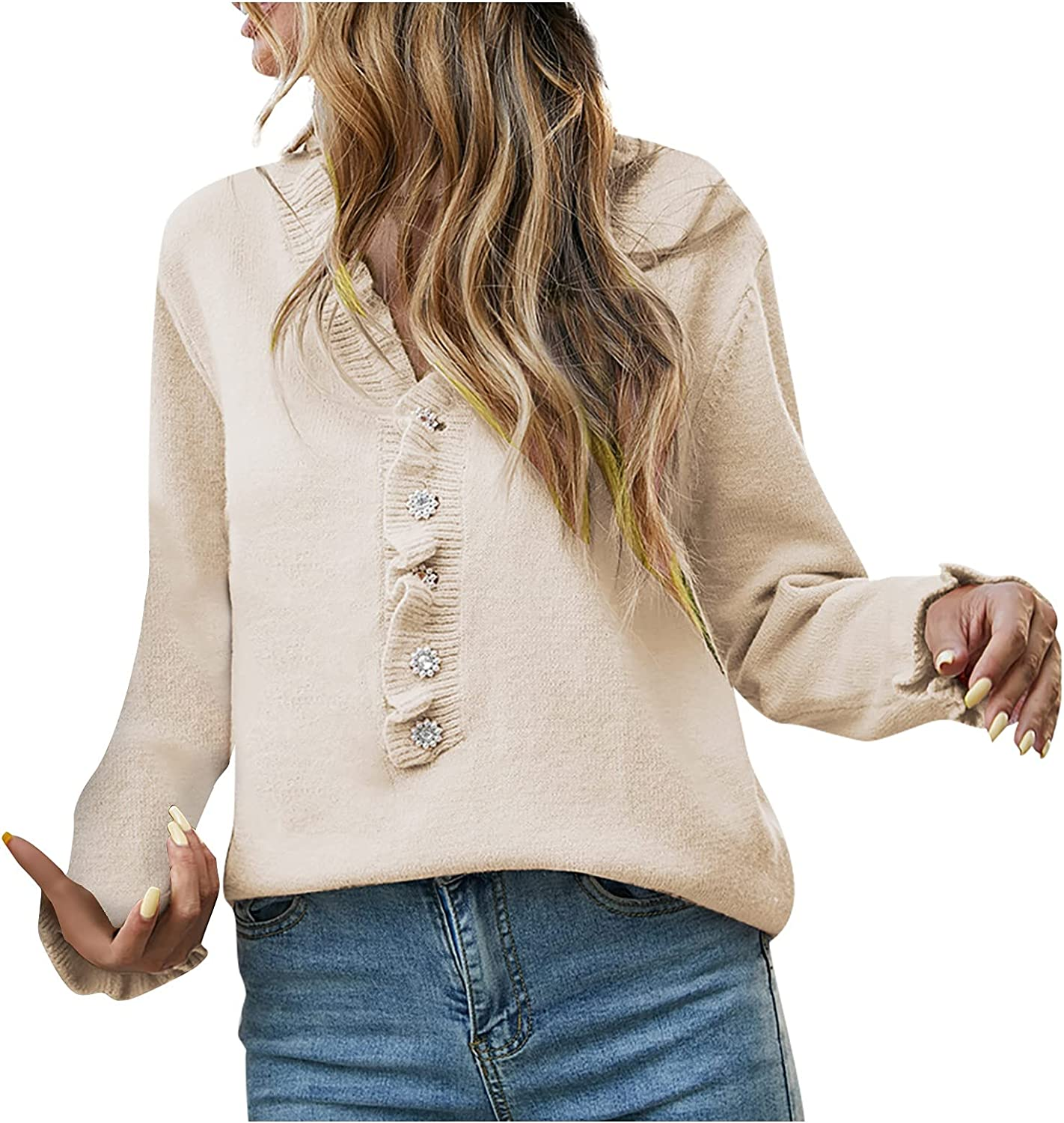 Women's Winter Long-Sleeved Pullover Sweater Casual Loose Sweaters Large Size V-Neck Solid Color Warm Top