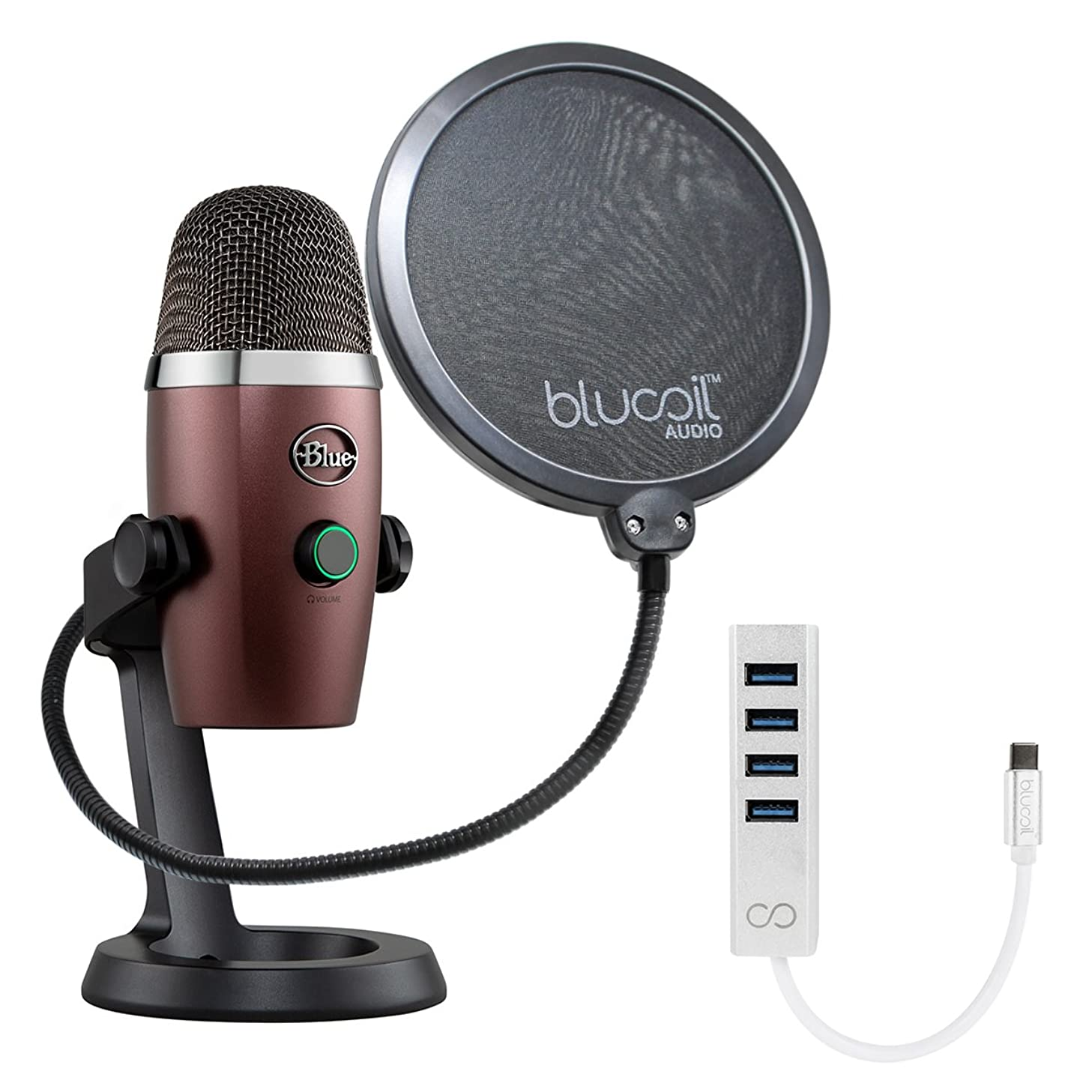 Blue Microphones Yeti Nano USB Mic for Podcasting, VoIP Conference (Red Onyx) Bundle with Blucoil Pop Filter Windscreen and USB C-Type Mini Hub with 4 USB Ports