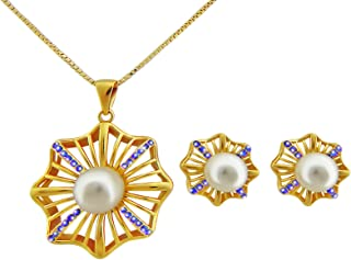 Hanessa, set di gioielli da donna con ciondolo a forma di fiore, collana placcata in oro e orecchini a forma di fiore, reg...