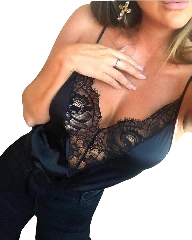 Lace Satin Bodysuit for Women Sexy Halter Mesh Teddy Bodysuit Backless Strap Deep V Neck Lingerie Babydoll (Black,Small)