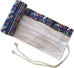 WSLCN 36/48/72/108 Holes Canvas Pencil Wrap Case Bohemian Travel Drawing Pencil Roll for Artist Pencils Pouch Portable Colored Hold Pencil Bag Holder Storage Pouch Multicoloured 48 holes