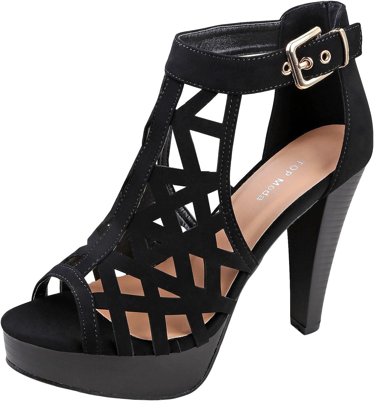 Top Moda Strap Platform Sandal Black
