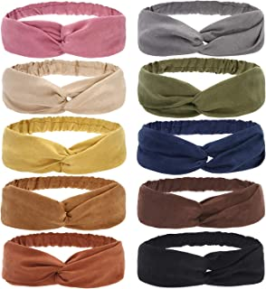 Folora 10pcs Twisted Criss Cross Elastic Headbands Vintage Suede Fabric Hair Bands for Women Girls