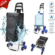 2019 Upgraded Folding Shopping Cart Stair Climbing Cart with Quiet Rubber Tri-Wheels Grocery Utility Cart with Wheel Bearings Multi Pockets Waterproof Bag & Platform for Laundry Basket Loading
