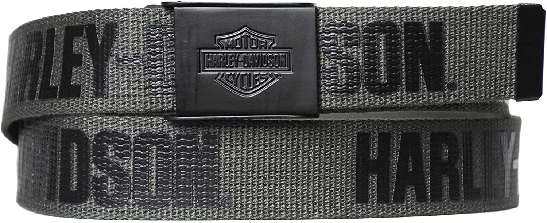 Harley-Davidson Men's Fasten Up Adjustable Slide Buckle Cotton Belt - Gray