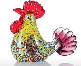 Romacci Escultura de vidro multicolor para galo decoração da casa Ornamento de animais Decoração artesanal para presente