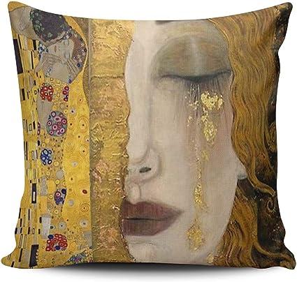 Federa Per Cuscino Con Stampa Su Un Lato Motivo The Kiss By Gustav Klimt Di Lusso Con Cerniera 40 6 X 61 Cm Federa Per Cuscino Amazon It Casa E Cucina