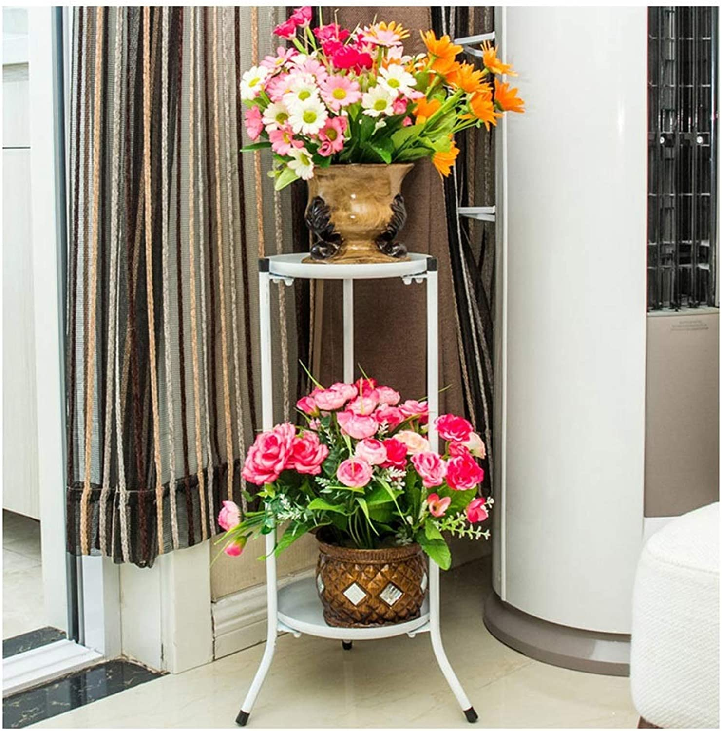 Gifts & Decor Plant Stand Shelf Flower Stand Flower Pot Holder Iron Art Double Layer Floor-Standing Living Room Balcony Indoor Simple Decoration (color   White)