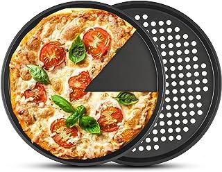 2 plateaux à pizza antiadhésifs, PAWACA plateau à pizza en acier au carbone de 12 pouces pour la cuisson au four, va au la...
