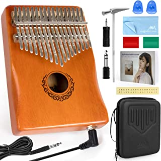 AKLOT 17 clés électriques Kalimba, EQ Kalimbas Thumb Piano Marimba avec micro intégré Kit de démarrage Kalimba professionn...