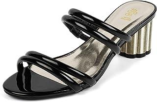 tresmode Womens Glossy Block Heel Slip on Sandals