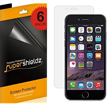(6 Pack) Supershieldz for Apple iPhone 6 and iPhone 6S Screen Protector, High Definition Clear Shield (PET)